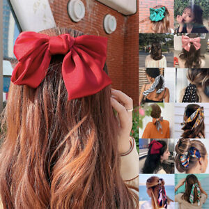 Women Long Elastic Ponytail Scarf Bow Hair Rope Ties Scrunchies Ribbon Hair Band