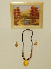 chips, Amber necklace and earrings Vintage picture w/frame & Amber