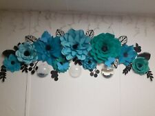 """9 HANDMADE GIANT up to 18"""" PAPER FLOWERS TEAL TURQUOISE PURPLE FULLY ASSEM."""