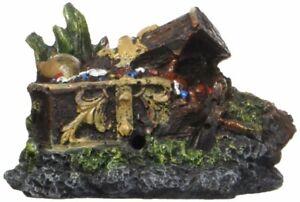 Penn Plax Mini Midnight Dragons Treasure Chest Ornament Aquarium Decor