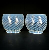 "PAIR Antique Victorian Opalescent Glass Swirl Gas Light Globe Shades 5"" Fitter"