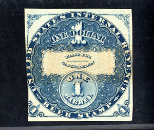 Beer Stamp 1870 REA18a $1 Blue Silk 1 barrel Unused Yellow Security Lines^
