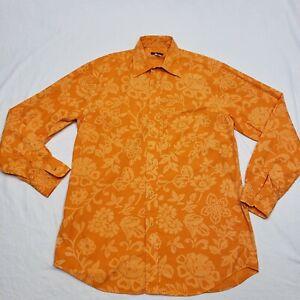 Paul & Shark yachting Orange Button Casual Long Sleeve Men's Shirt Sz L 42 Chest