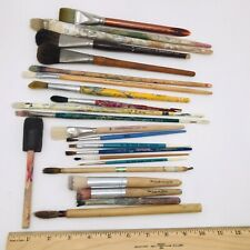Lot Of 22 Artist Paint Brushes Vintage Grumbacher Winsor Newton Sable Natural
