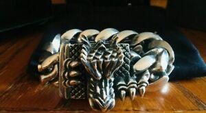 $3500 King Baby Studio Sterling Silver RARE Lage Dragon Bracelet Bad Azz