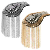 2pcs Vintage Tassel Link Chain Epaulet Shoulder Boards Badge Brooch Women Men