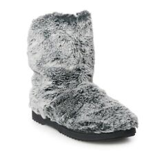 Indoor/Outdoor Ultra Soft Gray Faux Fur Boot Slippers XL 11/12