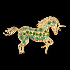 Oval Emerald 4x3mm Sapphire Diamond Cut Gems 925 Sterling Silver Unicorn Brooch