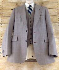 Vtg Hammonton Park Blazer & Vest 38R Brown Plaid 2 Button Dual Vent Wool 60s