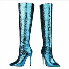 Sexy Women's Pointy Toe Super High Heel Shiny Color Knee High Boots 43/44/45 L