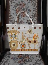 Vtg ENID COLLINS CARRIAGE TRADE PURSE Beaded Novelty Jeweled Horse & Buggy Beige