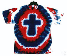 XL RED WHITE & BLUE CROSS Hand-dyed TIE DYE  T-SHIRT Size X-LARGE