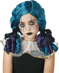 Clown Doll Curly Kids Wig Goth Clowny Curls Girl's Teal Purple Costume Accessory