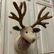 Derek The Reindeer Head Wall Sculpture Decoration Fabric Stag Vintage Hanging