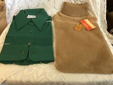 2 New Vintage Symphony Scarfs Green Dickie & The Villagers (Tan) Knitted Dickie