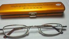 Classic Mini +3.00  Presbyopia Reading Glasses w/Slim Pocket Pen Clip Hard Case