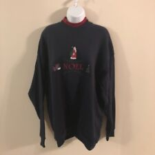 Lee XL Sweatshirt Noel Santa Pines Embroidered Navy Blue Red Inner Collar New
