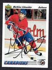 Mathieu Schneider #328 signed autograph auto 1991-92 Upper Deck Hockey Card
