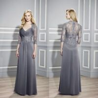 Lace Applique Mother Of The Bride Dresses Sequin Long Evening Formal Gowns Gray