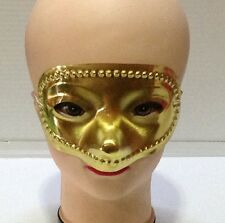 CARNEVALE HALLOWEEN MASCHERA ORO GOLD PLASTIC MASK FACE COSPLAY COTILLONS