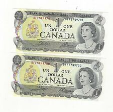 **1973**Canada $1 Note, Crow/Bouey # BFF 5749700 & 01 BC-46b (2 sequential)