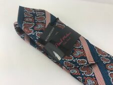 Blue & Coral Silk Tie and Pocket Square . Paul Malone Red Line