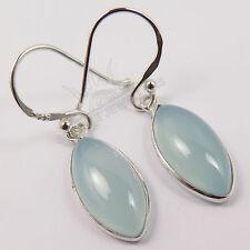 "Natural AQUA CHALCEDONY Gemstones Jewellery 925 Sterling Silver Earrings 1 1/4"""