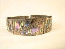 "Vintage Sterling Silver Native American VKE Abalone Hand Made 7.5"" Bracelet"