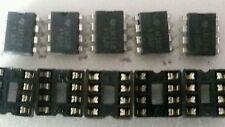 5 PCS Ti LM358 OP AMP, DIP-8 & dip sockets..US seller..