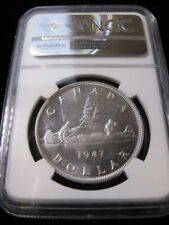 **1947 Pointed 7 QHP**, NGC Graded Canadian Silver Dollar **MS-63**