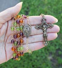 Handmade Catholic ROSARY Purple Green Amber GLASS bead BRONZED Miraculous Medal