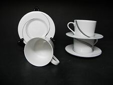 BLOCK  CHINA SPAL WHITE PEARL set of 3 CUPS AND SAUCERS