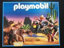 Playmobil RARE Western Water Hole Set 3801 w/ Box Long Horn Cattle, Cowboys VHTF