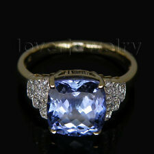Jewelry Solid 14k Yellow Gold Natural 8mm Cushion AAA+ Tanzanite Diamond Ring
