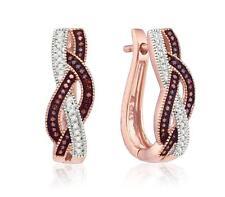 Oblong Hoop Earrings 10K Rose Gold Red & White Diamonds .25ct - Braided Design