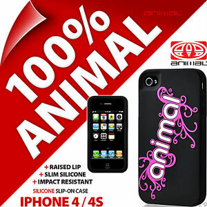 Animal Silicone Case Slim Black Cover Shell for Apple iPhone 4 / 4S