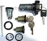 New GM Chevy OEM Black Ignition/Doors/Trunk Lock Key Cylinder Set With Keys