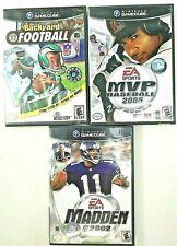 VTG Nintendo GameCube 3 Sports Games Lot Backyard Football Madden MVP Baseball