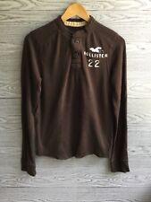 Hollister California Hollister 22 Long Sleeve Henley Brown Shirt Mens Size X Sma