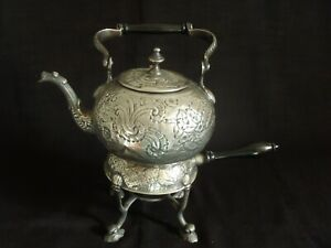 Antique SILVERPLATE REPOUSSE TEAKETTLE & Stand by International Silver Co.