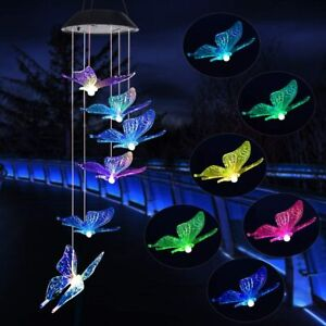Solar Windchime LED Color Changing Wind Chime Butterfly Outdoor Indoor Solar New