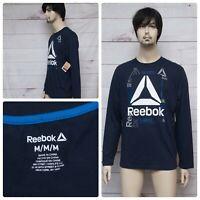 Reebok Crossfit Litecom Long Sleeve Compression Shirt Blue Size S M L XL