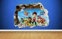 PAW PATROL SMASHED WALL STICKER 3D STYLE BEDROOM BOYS GIRLS VINYL WALL ART DECAL