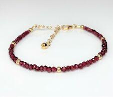 Red Garnet Gold Bracelet January Birthstone Minimalist Dainty Women Gift Boxed