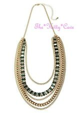 Emerald Green White Baguette Stones Multi Strand Gold Chain Catwalk Bib Necklace