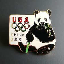 2008 BEIJING OLYMPIC PANDA BEAR FIVE RINGS PIN - LIMITED EDITION USA HOUSE