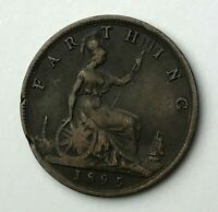 Dated : 1895 - One Farthing - 1/4d Coin - Queen Victoria - Great Britain
