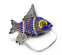 Vintage 20th C. Chinese Solid Silver & Enamel Articulated Fish Filigree Pendant