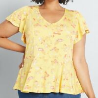 NEW NWT MODCLOTH Plus Size Yellow Flutter Short Sleeve Floral Boho Peplum Top 4X
