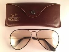 VINTAGE RAY BAN LEATHERS BROWN AVIATOR 58MM CHANGEABLE LENSES B&L USA SUNGLASSES